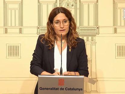 La consejera de Presidencia, Laura Vilagrà, en una rueda de prensa.