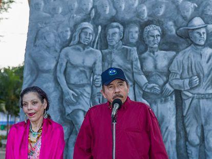 Daniel Ortega y Rosario Murillo durante un acto en Managua (Nicaragua).