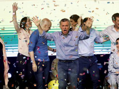 Mauricio Macri celebra el triunfo del oficialismo en las elecciones legislativas en Argentina.