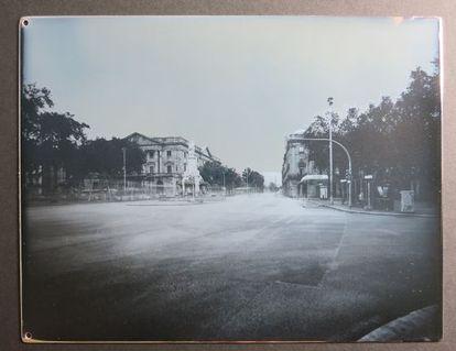 Daguerrotipo realizado ayer en el Pla de Palau de Barcelona que recrea el realizado en 1839.