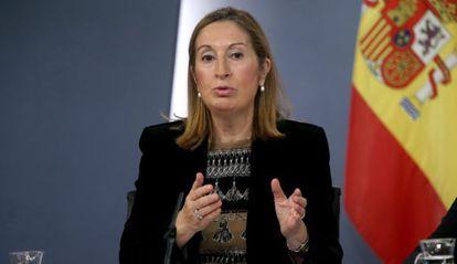La ministra de Fomento, Ana Pastor, tras el Consejo.