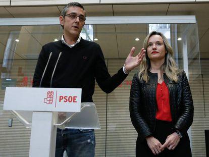 Eduardo Madina y Pilar Alegría presentan la candidatura de Susana Díaz a las primarias del PSOE.