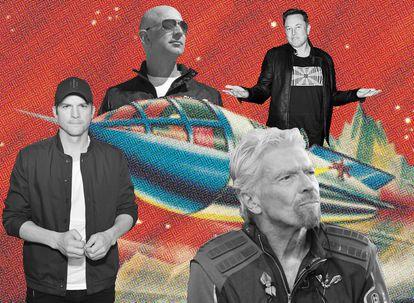 Ashton Kutcher, una de las celebridades que mostrado interés por unirse a uno de los vuelos espaciales, Jeff Bezos, Richard Branson y Elon Musk, los tres empresarios que pugnan por convertirse en embajadores de una nueva era de escapadas al espacio para todos los públicos (que puedan pagarla).