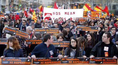 Cabecera de la manifestación convocada por la Asamblea por las Libertades el viernes por la tarde.