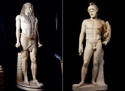 A la derecha, estatua de Antínoo, amante de Adriano. A la izquierda el propio emperador.