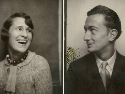 Autorretratos de Gala y Dalí en un fotomatón, en 1929.