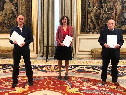 Luis Rubiales, Irene Lozano y Javier Tebas, el pasado sábado en el palacio madrileño de Viana.