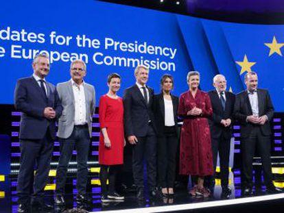 Los representantes de las seis principales familias políticas europeas confrontan sus respectivos programas durante un acto celebrado en el Parlamento Europeo en Bruselas