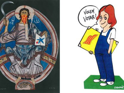 Dos de las obras presentes en la exposición del Museo de Historia de Cataluña: el cristo de Quim Domene y la Norma tuneada de Esquerra.
