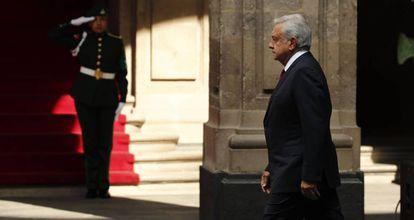 López Obrador, en el Palacio Nacional, en Ciudad de México.