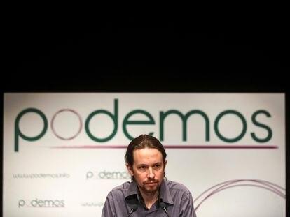 Pablo Iglesias, en un acto electoral en Madrid en enero de 2014.
