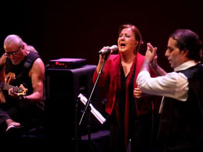 La cantaora Carmen Linares durante su actuación en el Teatro Canal.